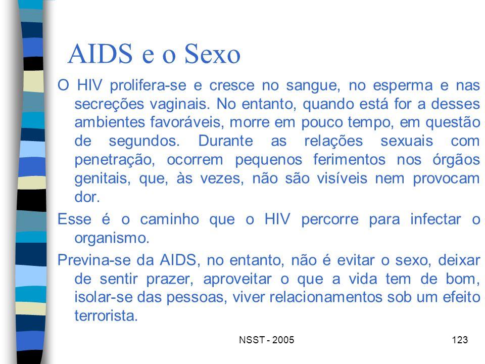 NSST - 2005123 AIDS e o Sexo O HIV prolifera-se e cresce no sangue, no esperma e nas secreções vaginais. No entanto, quando está for a desses ambiente