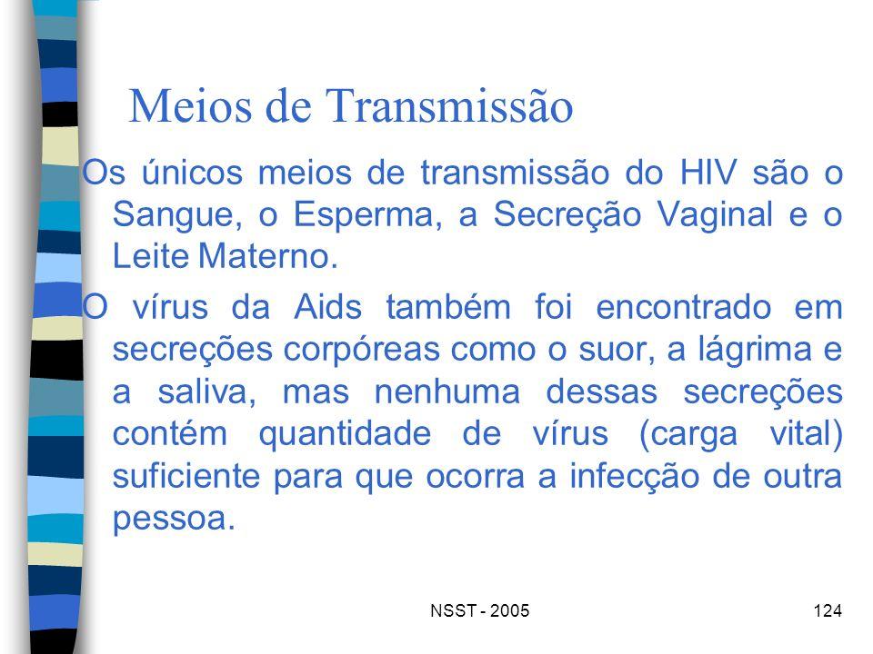 NSST - 2005124 Meios de Transmissão Os únicos meios de transmissão do HIV são o Sangue, o Esperma, a Secreção Vaginal e o Leite Materno. O vírus da Ai