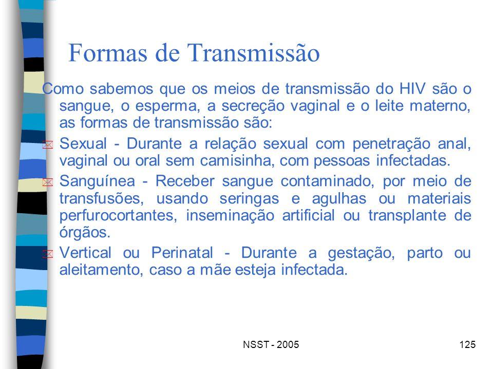 NSST - 2005125 Formas de Transmissão Como sabemos que os meios de transmissão do HIV são o sangue, o esperma, a secreção vaginal e o leite materno, as