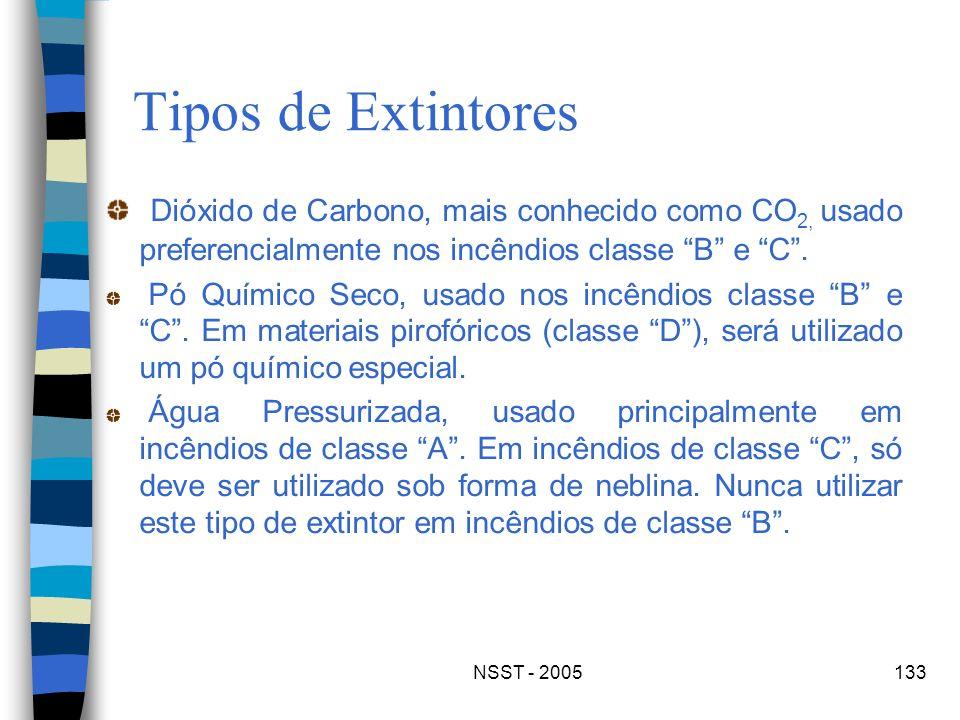 NSST - 2005133 Tipos de Extintores Dióxido de Carbono, mais conhecido como CO 2, usado preferencialmente nos incêndios classe B e C. Pó Químico Seco,
