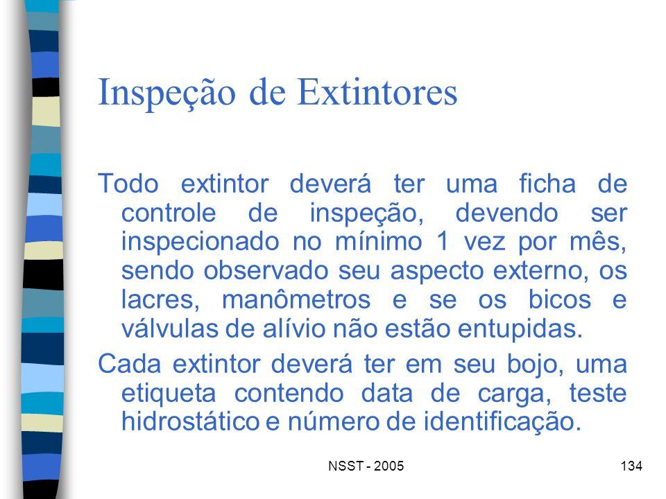 NSST - 2005134 Inspeção de Extintores Todo extintor deverá ter uma ficha de controle de inspeção, devendo ser inspecionado no mínimo 1 vez por mês, se