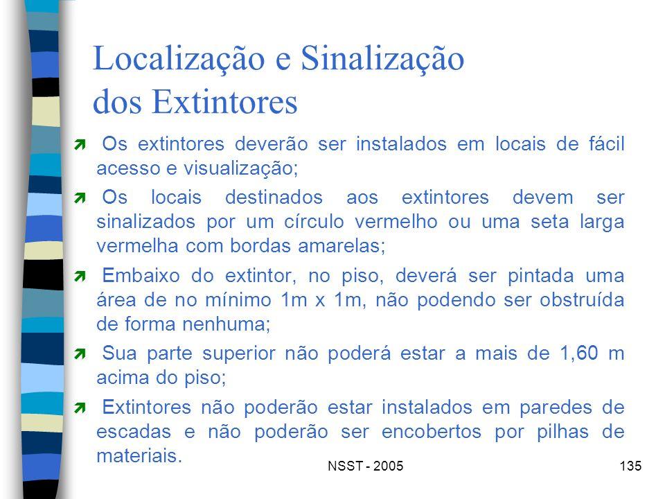NSST - 2005135 Localização e Sinalização dos Extintores Os extintores deverão ser instalados em locais de fácil acesso e visualização; Os locais desti