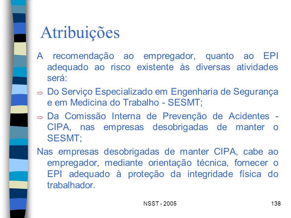 NSST - 2005138 Atribuições A recomendação ao empregador, quanto ao EPI adequado ao risco existente às diversas atividades será: Do Serviço Especializa