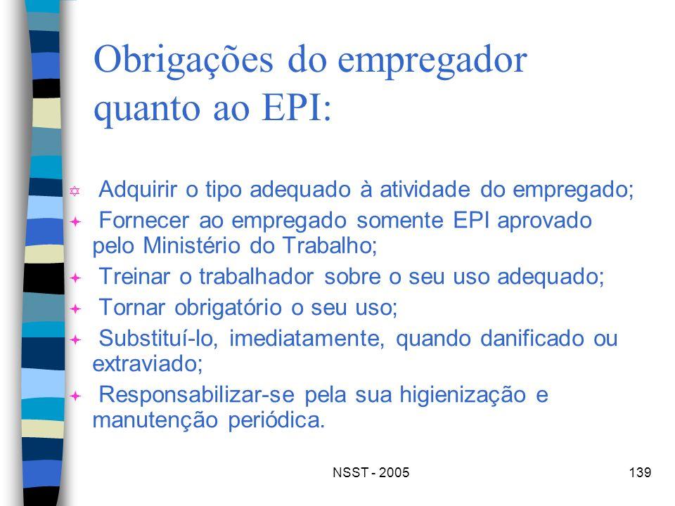 NSST - 2005139 Obrigações do empregador quanto ao EPI: Y Adquirir o tipo adequado à atividade do empregado; ª Fornecer ao empregado somente EPI aprova