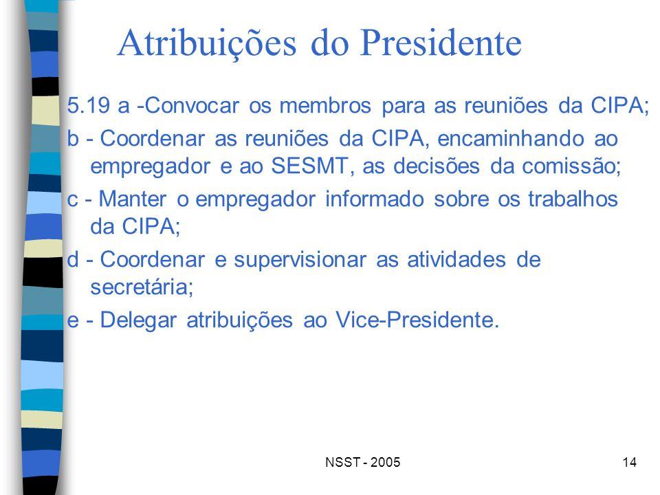 NSST - 200514 Atribuições do Presidente 5.19 a -Convocar os membros para as reuniões da CIPA; b - Coordenar as reuniões da CIPA, encaminhando ao empre