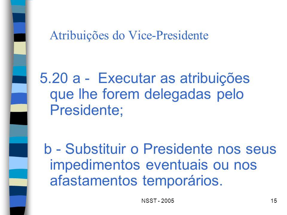 NSST - 200515 Atribuições do Vice-Presidente 5.20 a - Executar as atribuições que lhe forem delegadas pelo Presidente; b - Substituir o Presidente nos