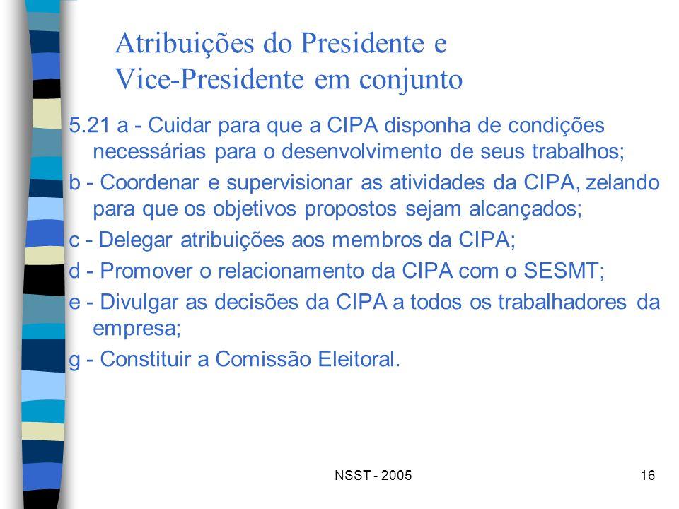 NSST - 200516 Atribuições do Presidente e Vice-Presidente em conjunto 5.21 a - Cuidar para que a CIPA disponha de condições necessárias para o desenvo