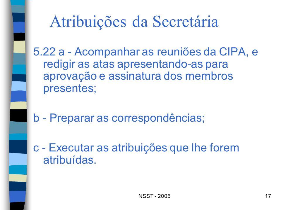 NSST - 200517 Atribuições da Secretária 5.22 a - Acompanhar as reuniões da CIPA, e redigir as atas apresentando-as para aprovação e assinatura dos mem