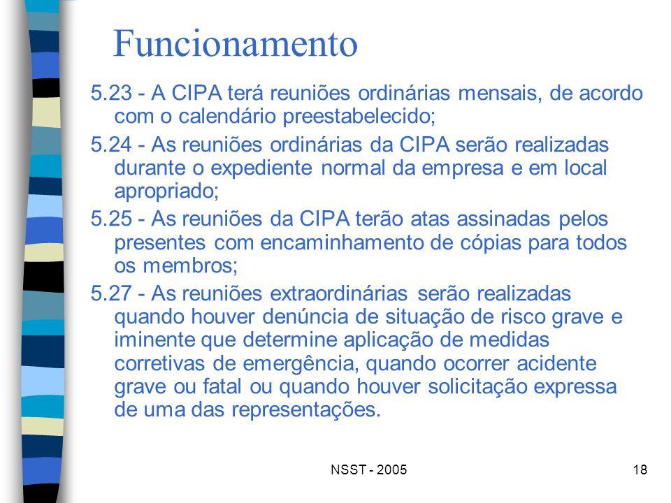 NSST - 200518 Funcionamento 5.23 - A CIPA terá reuniões ordinárias mensais, de acordo com o calendário preestabelecido; 5.24 - As reuniões ordinárias