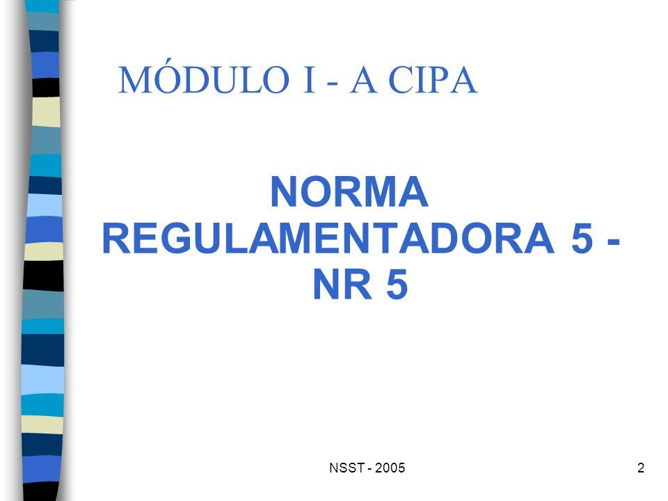 NSST - 20052 MÓDULO I - A CIPA NORMA REGULAMENTADORA 5 - NR 5