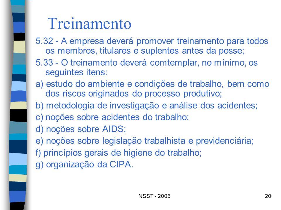 NSST - 200520 Treinamento 5.32 - A empresa deverá promover treinamento para todos os membros, titulares e suplentes antes da posse; 5.33 - O treinamen