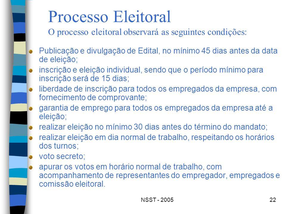 NSST - 200522 Publicação e divulgação de Edital, no mínimo 45 dias antes da data de eleição; inscrição e eleição individual, sendo que o período mínim