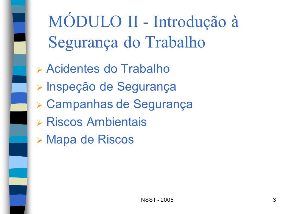 NSST - 20053 MÓDULO II - Introdução à Segurança do Trabalho Acidentes do Trabalho Inspeção de Segurança Campanhas de Segurança Riscos Ambientais Mapa