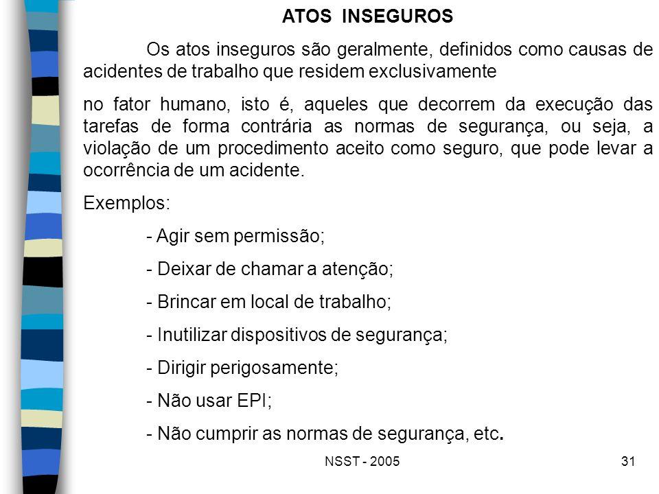 NSST - 200531 ATOS INSEGUROS Os atos inseguros são geralmente, definidos como causas de acidentes de trabalho que residem exclusivamente no fator huma