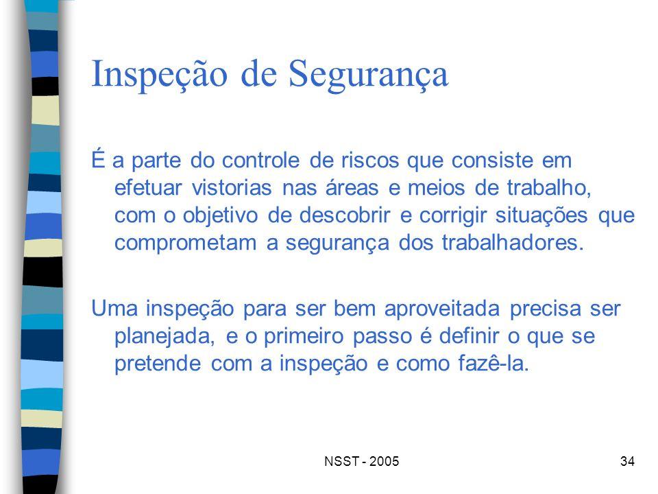 NSST - 200534 Inspeção de Segurança É a parte do controle de riscos que consiste em efetuar vistorias nas áreas e meios de trabalho, com o objetivo de