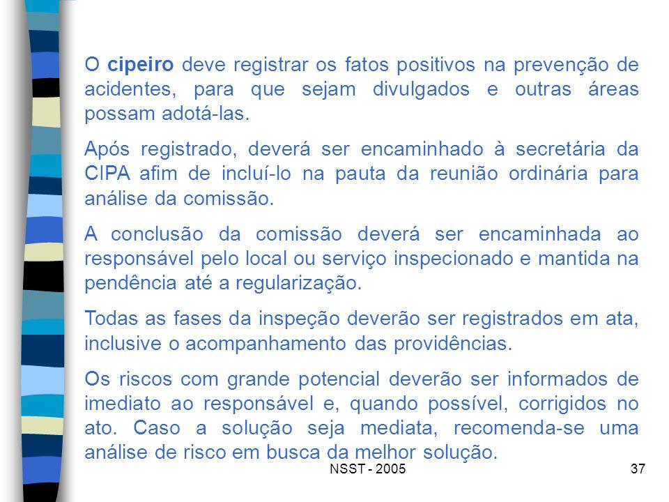 NSST - 200537 O cipeiro deve registrar os fatos positivos na prevenção de acidentes, para que sejam divulgados e outras áreas possam adotá-las. Após r