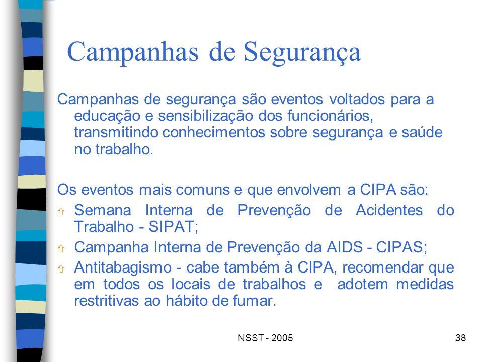 NSST - 200538 Campanhas de Segurança Campanhas de segurança são eventos voltados para a educação e sensibilização dos funcionários, transmitindo conhe