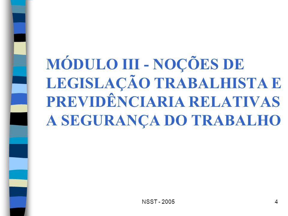 NSST - 20054 MÓDULO III - NOÇÕES DE LEGISLAÇÃO TRABALHISTA E PREVIDÊNCIARIA RELATIVAS A SEGURANÇA DO TRABALHO