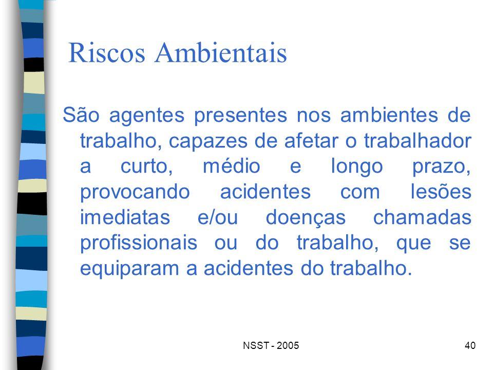 NSST - 200540 Riscos Ambientais São agentes presentes nos ambientes de trabalho, capazes de afetar o trabalhador a curto, médio e longo prazo, provoca