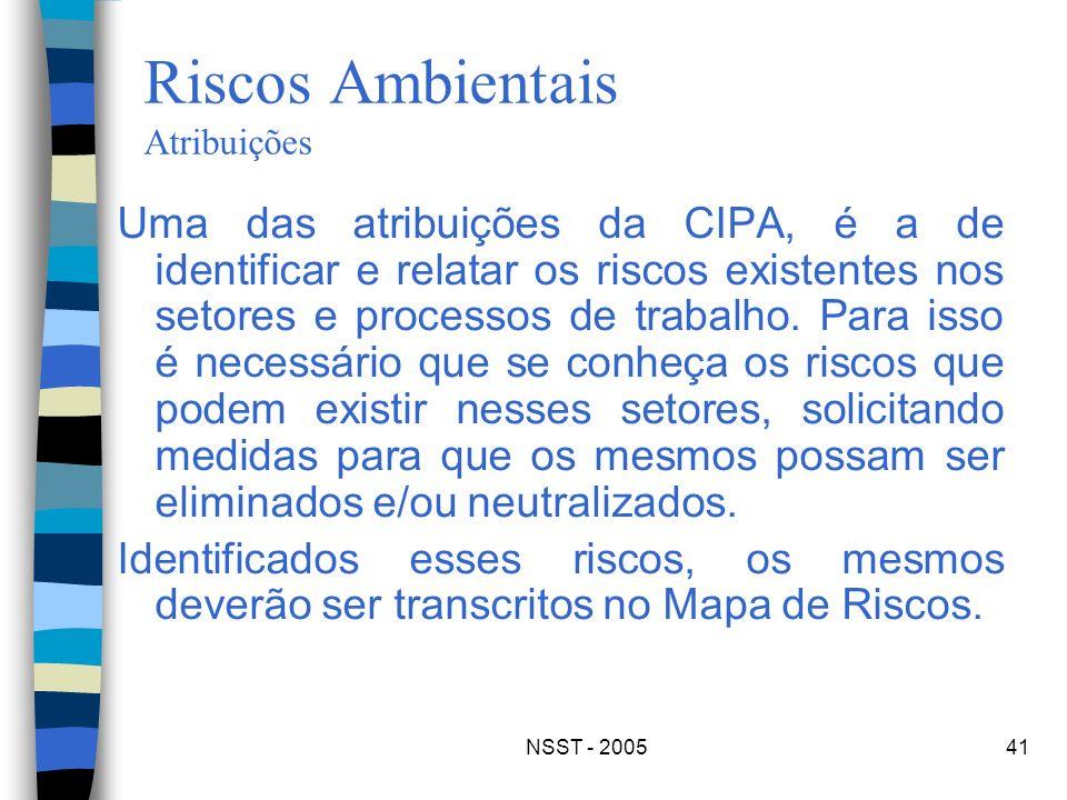 NSST - 200541 Riscos Ambientais Atribuições Uma das atribuições da CIPA, é a de identificar e relatar os riscos existentes nos setores e processos de