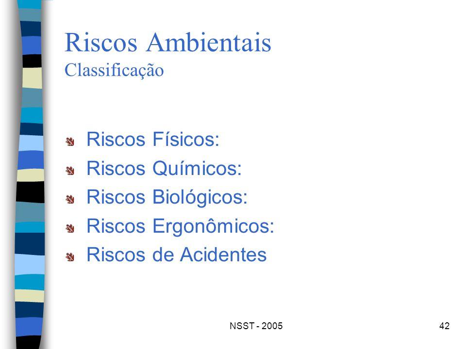 NSST - 200542 Riscos Ambientais Classificação Riscos Físicos: Riscos Químicos: Riscos Biológicos: Riscos Ergonômicos: Riscos de Acidentes