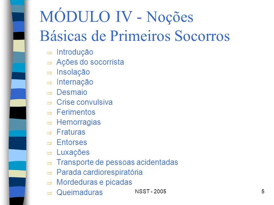 NSST - 20055 MÓDULO IV - Noções Básicas de Primeiros Socorros Introdução Ações do socorrista Insolação Internação Desmaio Crise convulsiva Ferimentos
