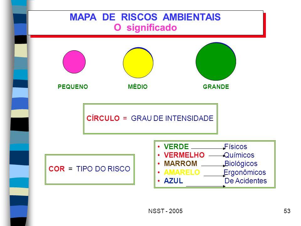 NSST - 200553 MAPA DE RISCOS AMBIENTAIS O significado PEQUENOMÉDIOGRANDE CÍRCULO = GRAU DE INTENSIDADE COR = TIPO DO RISCO VERDE Físicos VERMELHO Quím