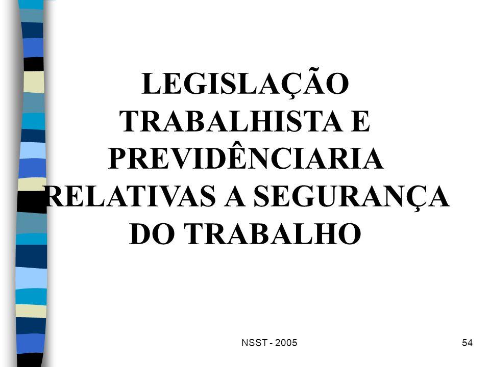 NSST - 200554 LEGISLAÇÃO TRABALHISTA E PREVIDÊNCIARIA RELATIVAS A SEGURANÇA DO TRABALHO