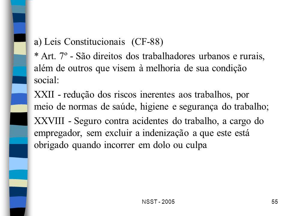 NSST - 200555 a a) Leis Constitucionais (CF-88) * Art. 7º - São direitos dos trabalhadores urbanos e rurais, além de outros que visem à melhoria de su
