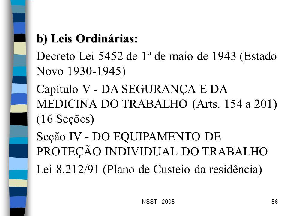 NSST - 200556 b) Leis Ordinárias: Decreto Lei 5452 de 1º de maio de 1943 (Estado Novo 1930-1945) Capítulo V - DA SEGURANÇA E DA MEDICINA DO TRABALHO (