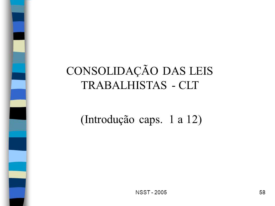 NSST - 200558 CONSOLIDAÇÃO DAS LEIS TRABALHISTAS - CLT (Introdução caps. 1 a 12)