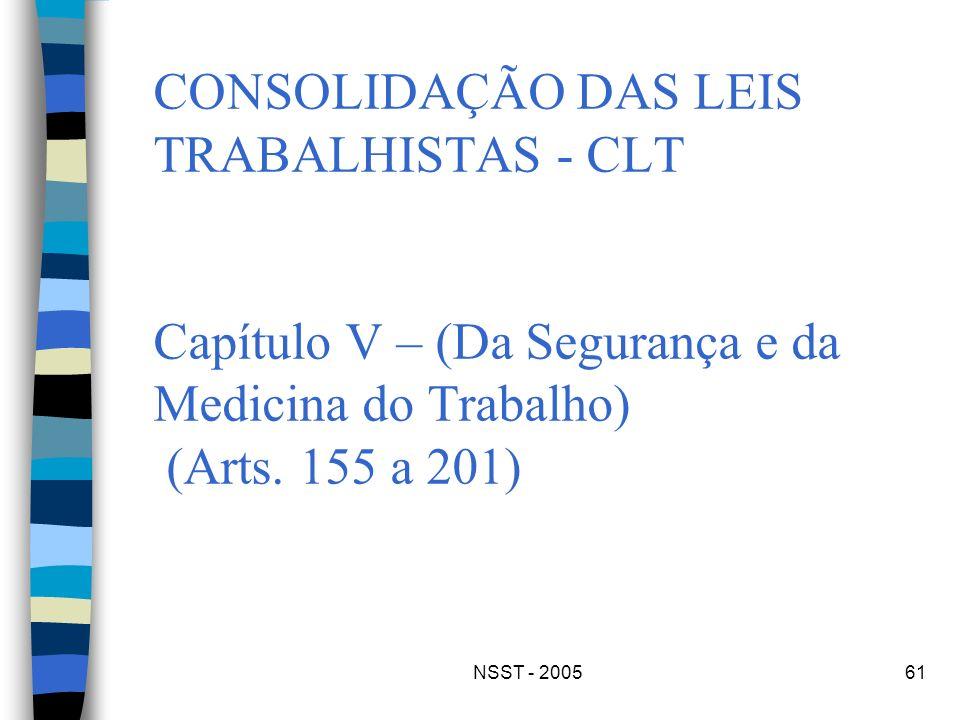 NSST - 200561 CONSOLIDAÇÃO DAS LEIS TRABALHISTAS - CLT Capítulo V – (Da Segurança e da Medicina do Trabalho) (Arts. 155 a 201)
