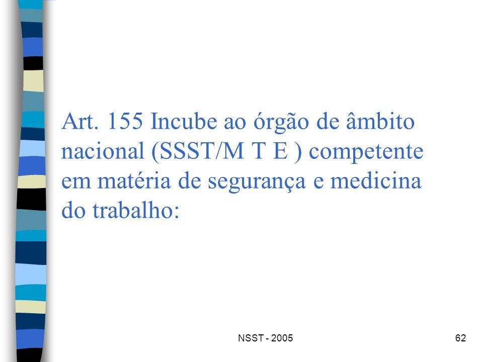 NSST - 200562 Art. 155 Incube ao órgão de âmbito nacional (SSST/M T E ) competente em matéria de segurança e medicina do trabalho: