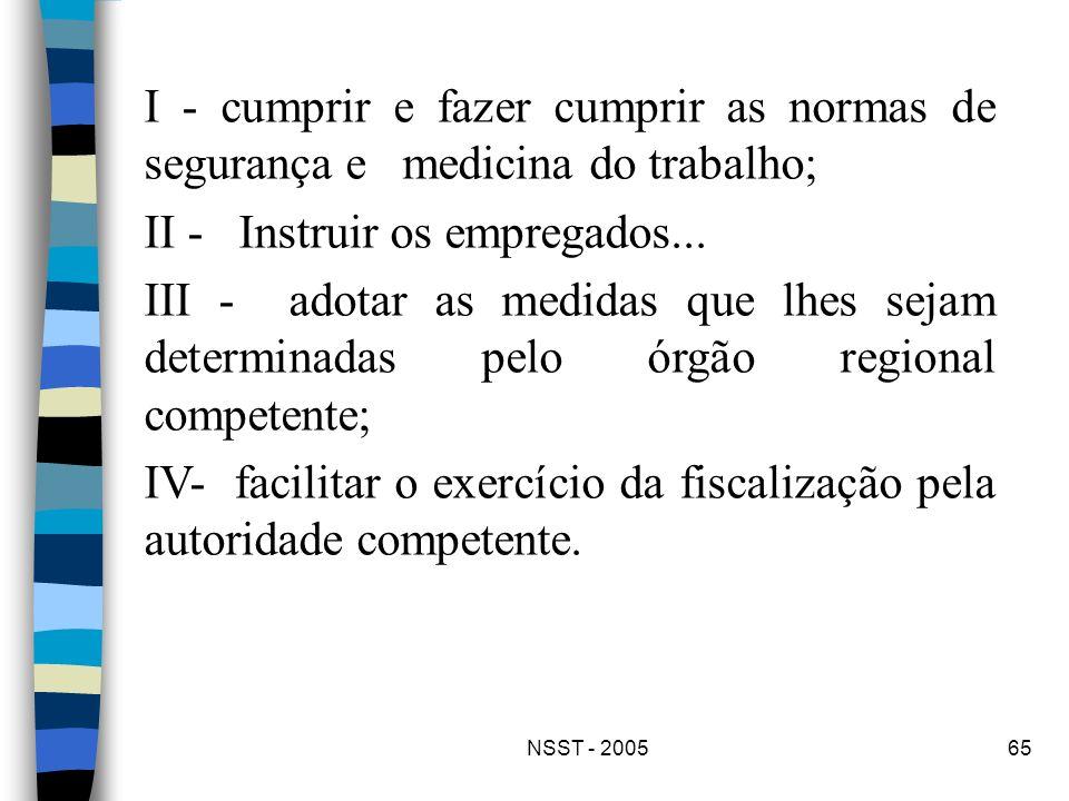 NSST - 200565 I - cumprir e fazer cumprir as normas de segurança e medicina do trabalho; II - Instruir os empregados... III - adotar as medidas que lh