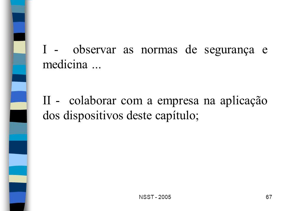 NSST - 200567 I - observar as normas de segurança e medicina... II - colaborar com a empresa na aplicação dos dispositivos deste capítulo;