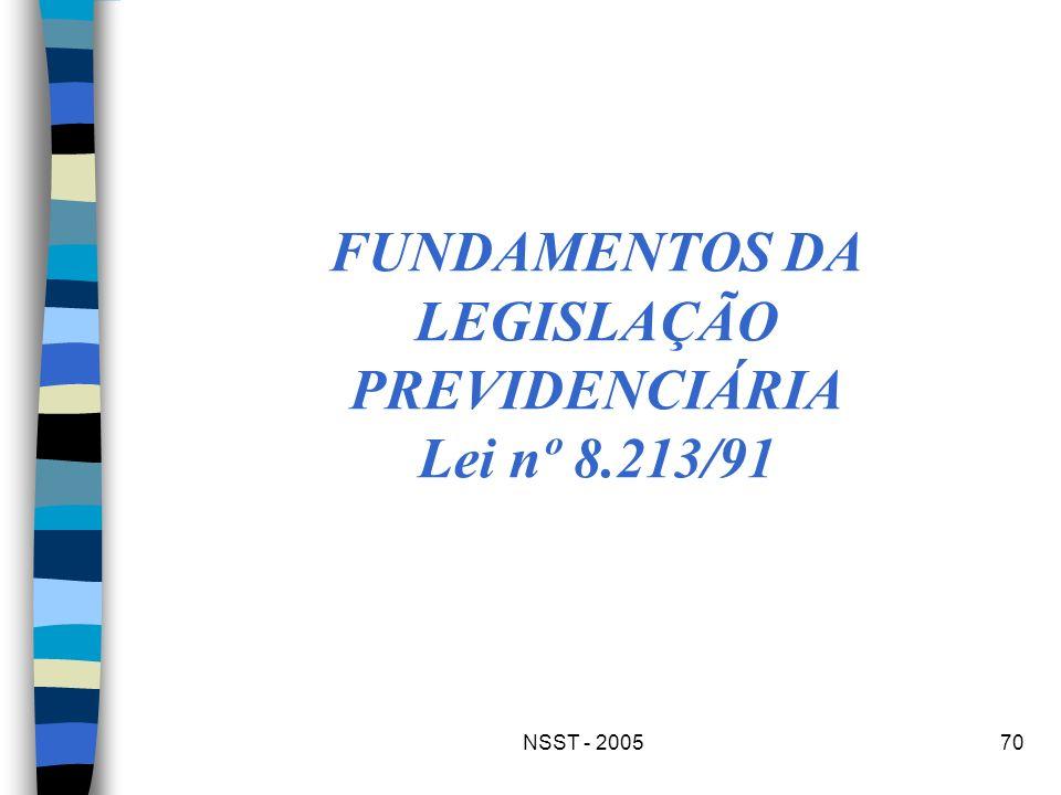 NSST - 200570 FUNDAMENTOS DA LEGISLAÇÃO PREVIDENCIÁRIA Lei nº 8.213/91