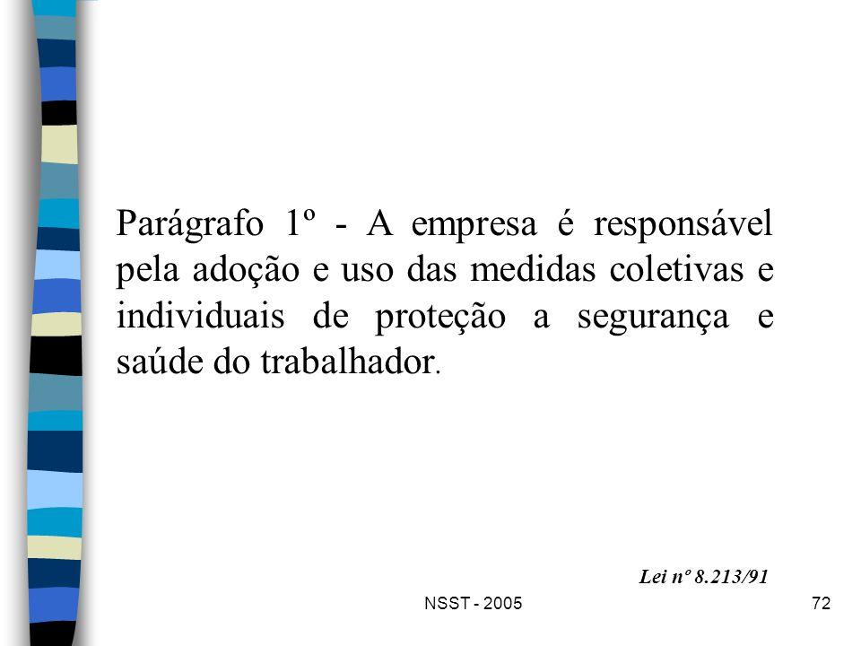 NSST - 200572 Parágrafo 1º - A empresa é responsável pela adoção e uso das medidas coletivas e individuais de proteção a segurança e saúde do trabalha