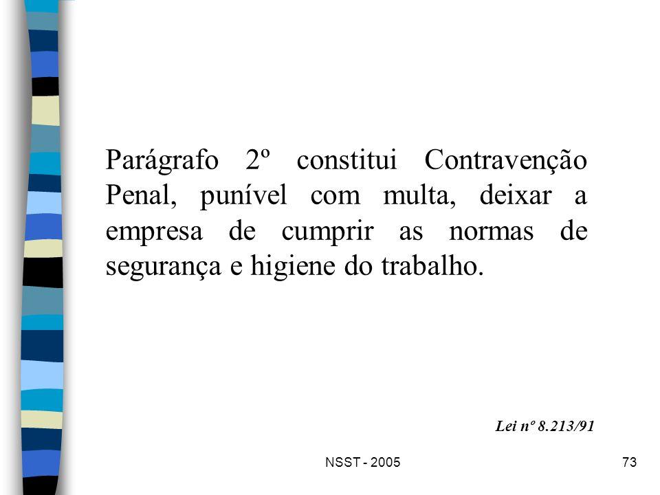 NSST - 200573 Parágrafo 2º constitui Contravenção Penal, punível com multa, deixar a empresa de cumprir as normas de segurança e higiene do trabalho.