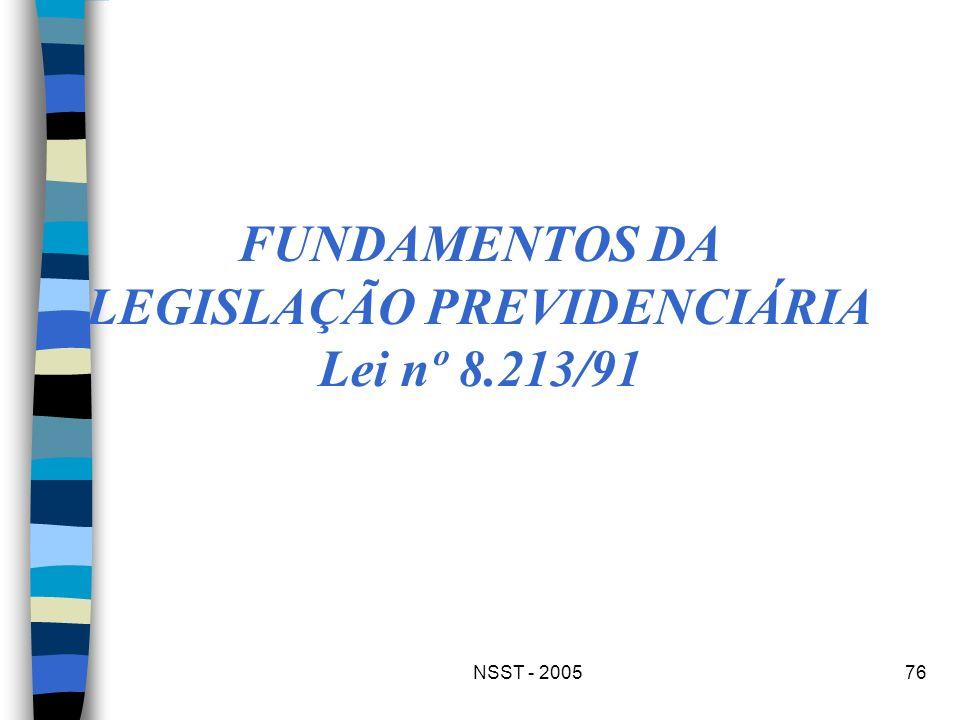 NSST - 200576 FUNDAMENTOS DA LEGISLAÇÃO PREVIDENCIÁRIA Lei nº 8.213/91