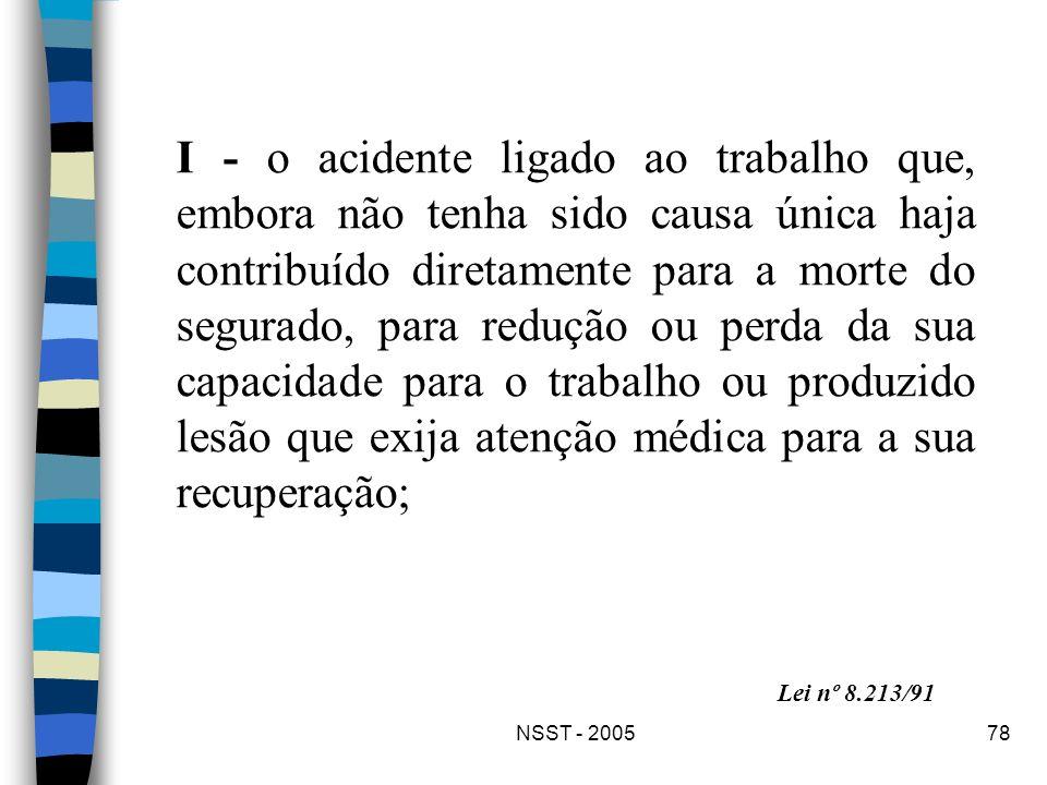 NSST - 200578 I - o acidente ligado ao trabalho que, embora não tenha sido causa única haja contribuído diretamente para a morte do segurado, para red