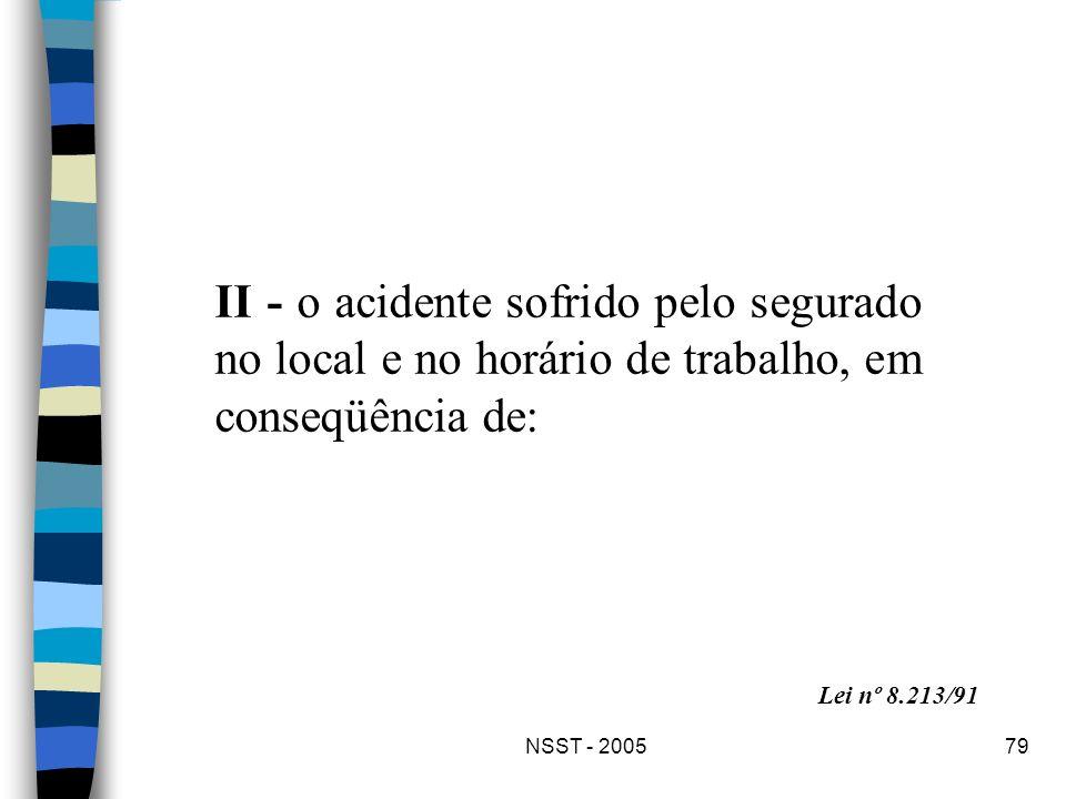 NSST - 200579 II - o acidente sofrido pelo segurado no local e no horário de trabalho, em conseqüência de: Lei nº 8.213/91