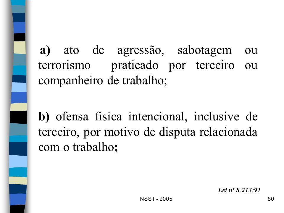 NSST - 200580 a) ato de agressão, sabotagem ou terrorismo praticado por terceiro ou companheiro de trabalho; b) ofensa física intencional, inclusive d