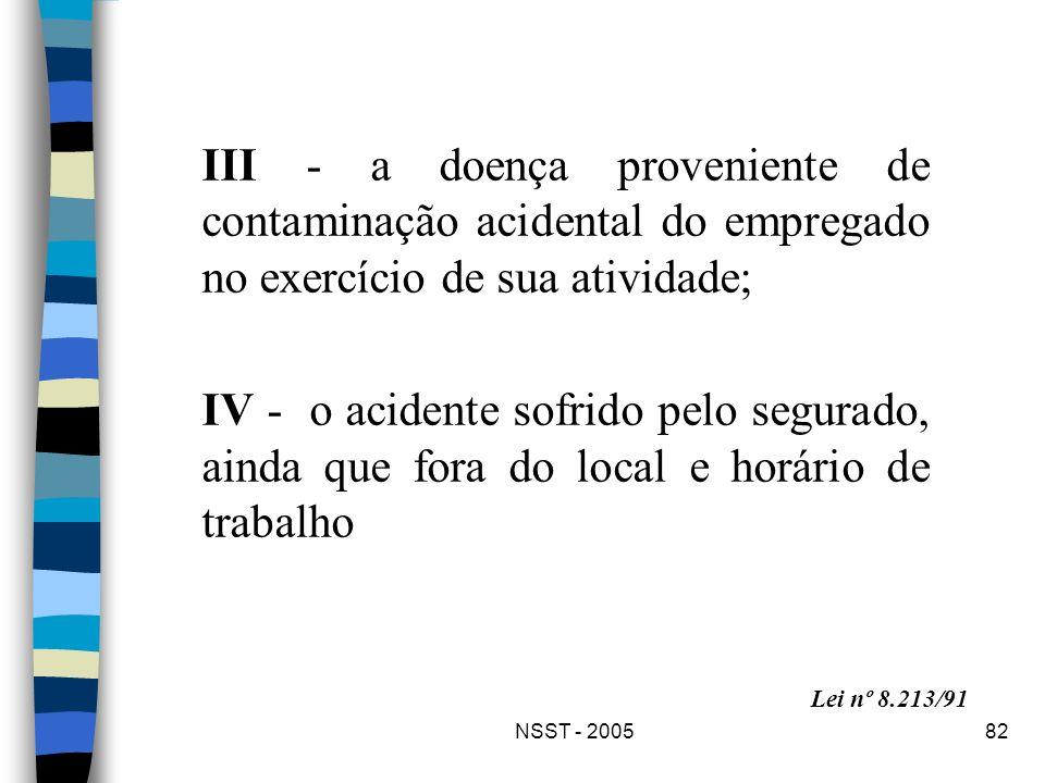 NSST - 200582 III - a doença proveniente de contaminação acidental do empregado no exercício de sua atividade; IV - o acidente sofrido pelo segurado,