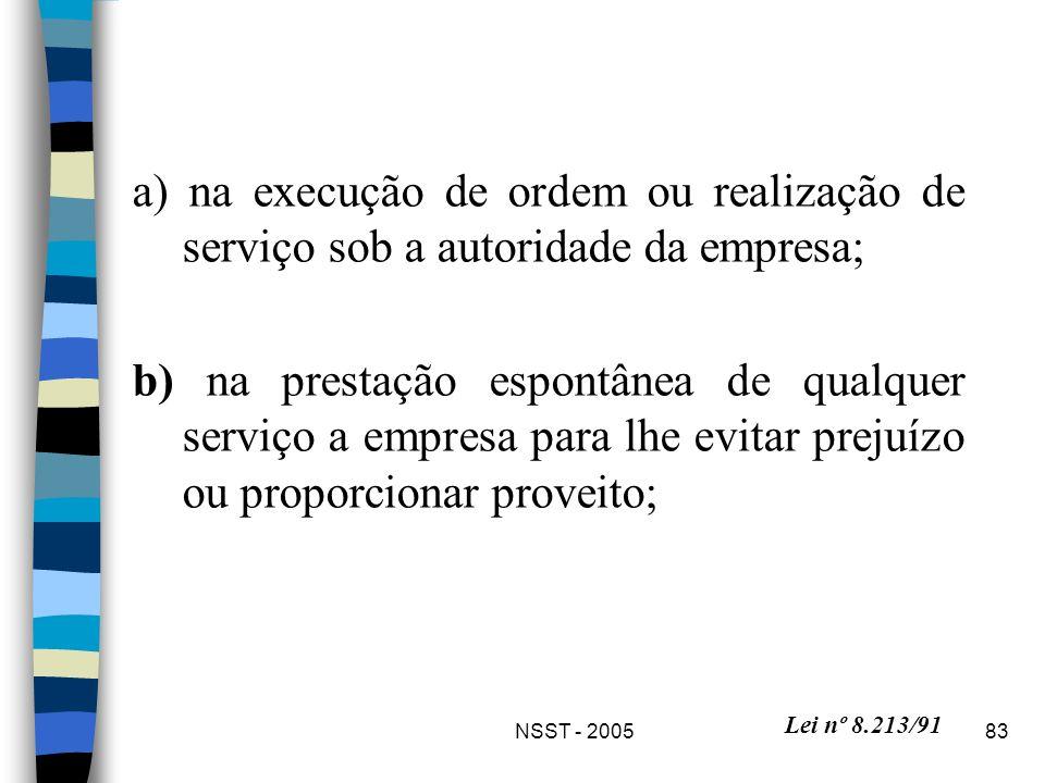 NSST - 200583 a) na execução de ordem ou realização de serviço sob a autoridade da empresa; b) na prestação espontânea de qualquer serviço a empresa p