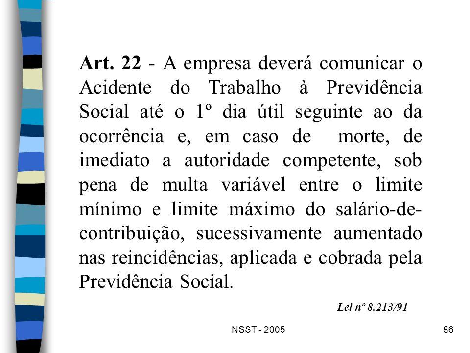 NSST - 200586 Art. 22 - A empresa deverá comunicar o Acidente do Trabalho à Previdência Social até o 1º dia útil seguinte ao da ocorrência e, em caso