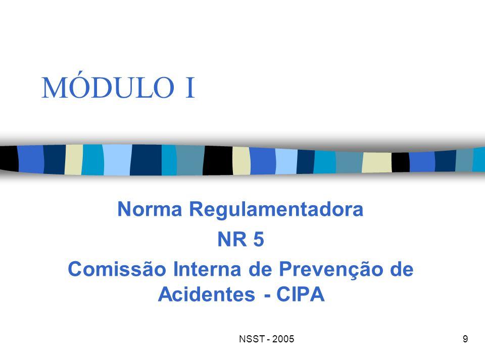 NSST - 20059 MÓDULO I Norma Regulamentadora NR 5 Comissão Interna de Prevenção de Acidentes - CIPA