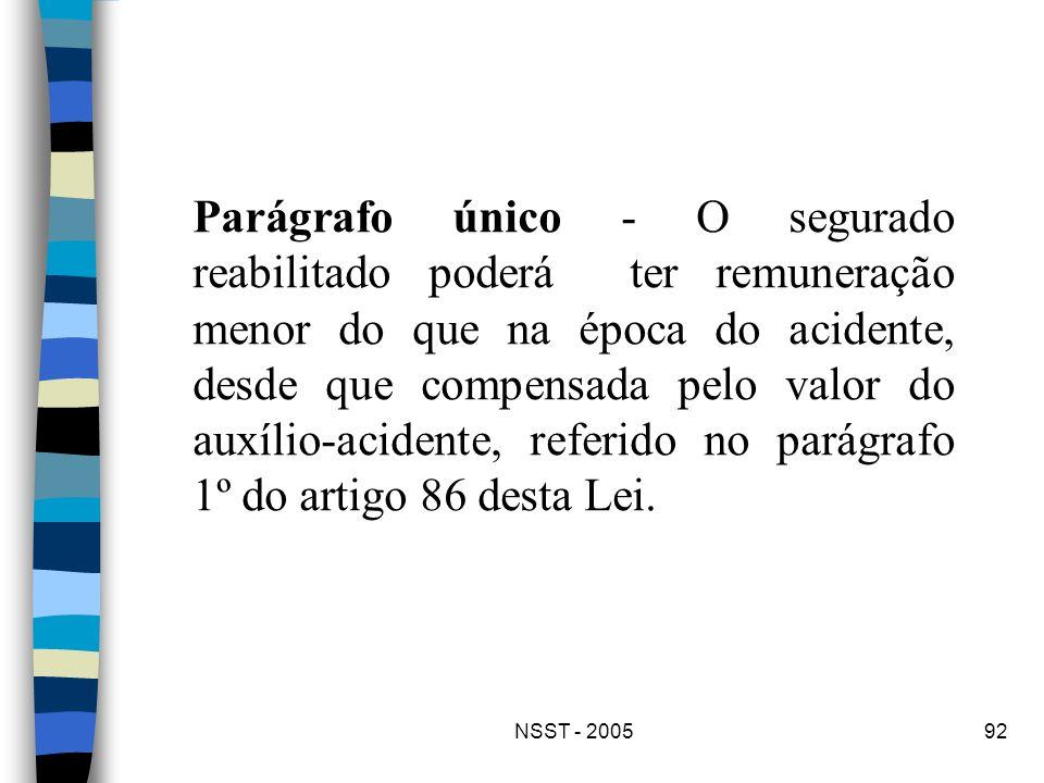 NSST - 200592 Parágrafo único - O segurado reabilitado poderá ter remuneração menor do que na época do acidente, desde que compensada pelo valor do au