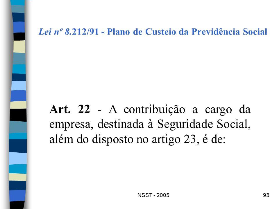 NSST - 200593 Lei nº 8.212/91 - Plano de Custeio da Previdência Social Art. 22 - A contribuição a cargo da empresa, destinada à Seguridade Social, alé