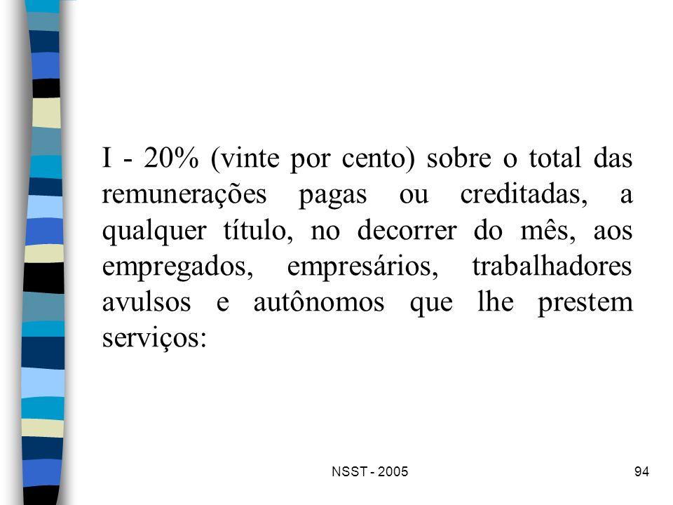 NSST - 200594 I - 20% (vinte por cento) sobre o total das remunerações pagas ou creditadas, a qualquer título, no decorrer do mês, aos empregados, emp