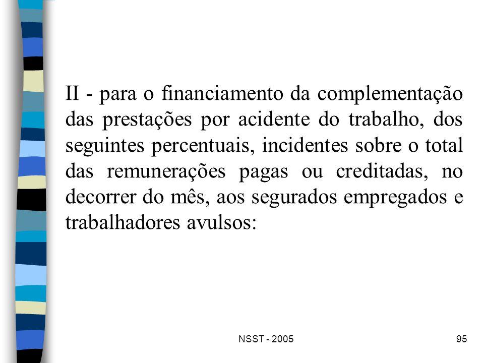 NSST - 200595 II - para o financiamento da complementação das prestações por acidente do trabalho, dos seguintes percentuais, incidentes sobre o total
